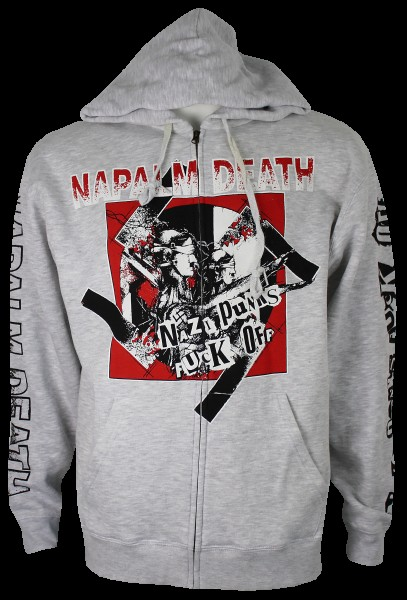 Hooded Zip nazi punks fuck off heather grey
